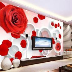 3D立体玫瑰花电视背景墙 客厅沙发壁纸订制